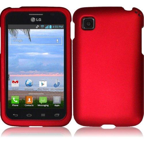LG Optimus Dynamic II LG39C L39C, EpicDealz (Red) Slim Grip Snap-On Rubberized Hard Plastic Cover Case For LG Optimus Dynamic II LG39C L39C (Net 10, Tracfone, Straighttalk) + Mini Stylus Pen + Case Opener