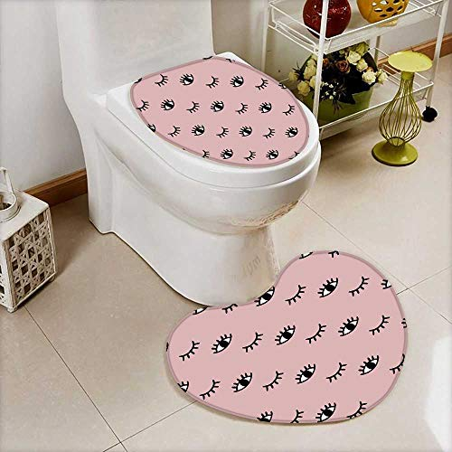 Bathroom Non-Slip Hand Drawn Seamless with Open and Winking Eyes Eyelashes on Mint Heart Shaped Foot pad Set Personalized Durable  W18 x H20 / W14 x H16 ()