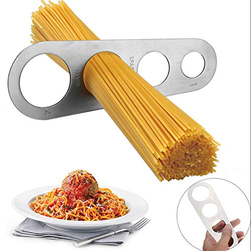 Domccy 1pc Pasta Measure Tool Stainless Steel Pasta Spaghetti Measurer Measuring Ruler Kitchen Gadget Stick with 4 Serving Portion Kitchen and Household Items, Decorations, Tool Accessories ()