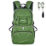 Gkeeny 35L Backpack, Lightweight Rucksack Foldable Hiking Daypack Packable Travel Day Backpack Bag for Unisex and Kids Camping Traveling Walking Cycling Climbing Jogging Day Trips (Green)