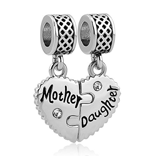 CharmSStory Heart Love Mom Mother Daughter Son Charm Dangle Beads Charms for Bracelets (Mother Daughter 02)