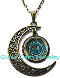 Moon Necklace Moon Pendant,Hippie necklace, Hippie pendant, Hippie jewelry, Peace sign necklace, peace jewelry, peace pendant, men's necklace, Hippie men's jewelry