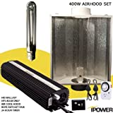 iPower 400 Watt HPS Digital Dimmable Grow Light System Kits Air Cooled Reflector Hood Set