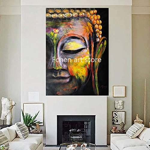 Handmade Artist Handmade Buddha Oil Painting on Canvas Rich Colors Canvas Buddha Painting for Living Room by Fchen Art