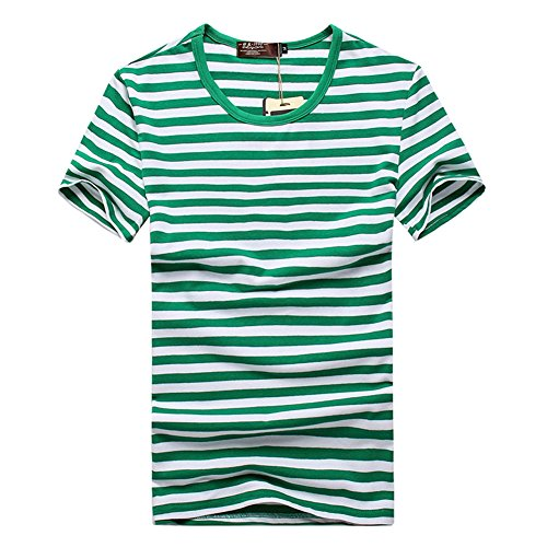 [JF-Sunshine Mens Striped Cotton Short Sleeve T-shirts, Black/ Blue/ Red/ Green (L, Green)] (Pugsley Addams Costume)