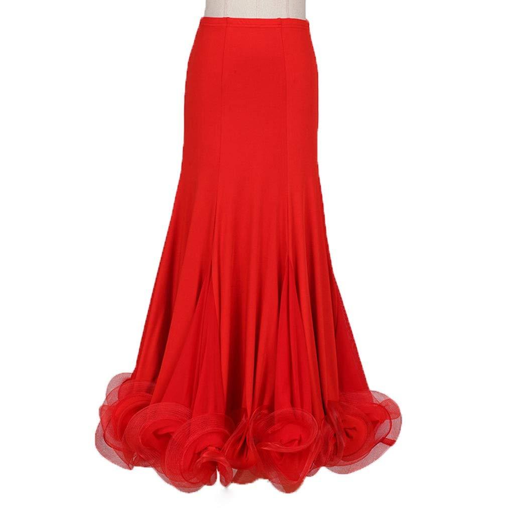 Rouge KTYXDE Jupe de Danse de Salon Standard Nationale Demi-Longueur Grande Jupe de Danse Moderne Danse Uniforme (Couleur   Violet, Taille   L) Large