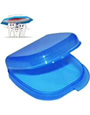 Enshey Dental Orthodontic Retainer Case Storage Box for Denture, Sport Mouth Guard, Brace, Splint (Blue)