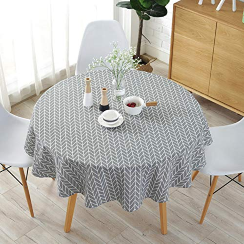 Quaanti 60 Inch Geometric Series Pattern Round Tablecloth - Cotton Linen Washable Table Cover Kitchen Dining Room Restaurant Party Decoration (Gray)