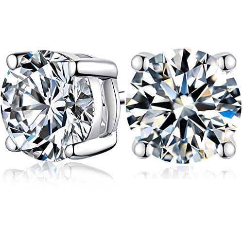 53e63361a Galleon - Platinum Plated Silver Studs Earrings,Cubic Zirconia Stud Earrings  For Women CZ 1.0 To 3.0 Ctw (1 Carat)