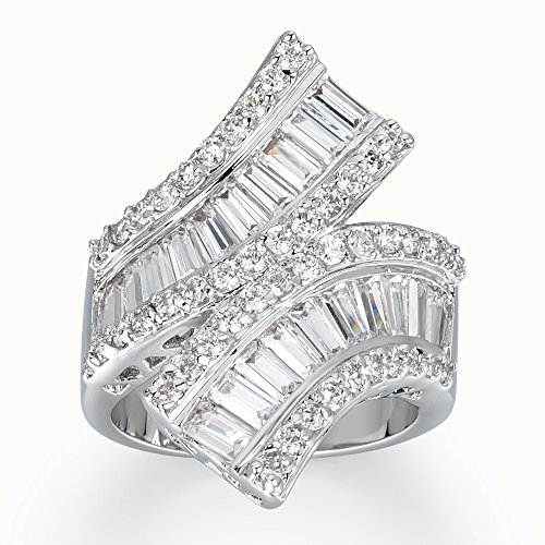 Delicin Jewelry Rhodium Plated Cubic Zirconia Wrap Double Band Cocktail Ring