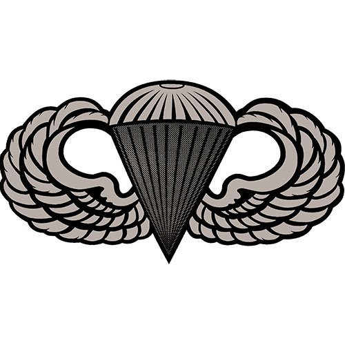 Parachutist Badge Wing 6 Inch Clear Vinyl Transfer