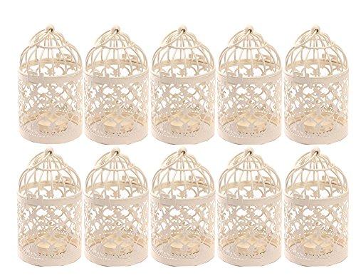 - Qingsun 10Pack Metal Tealight Candle Holder Lanterns Creative Wedding Home Table Decoration Birdcage White 8x14cm