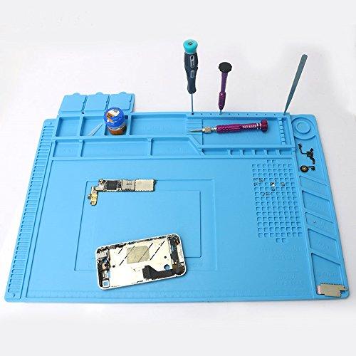 Cellphone Repair Mat, M.Way 45 x 30cm Multi-function Magnetic Heat Insulation Silicone Screw Repair Tools Pad Desk Mat Maintenance Platform for BGA Soldering Iron Repair Station, Watch Repair -