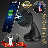 Wireless Car Charger, iFunTec Car Phone Mount Holder Air Vent Phone Holder, Dashboard/Windshield Mount, Dual USB Port Car Fast Charger Adapter Compatible with iPhone X 8 Plus Samsung S9 All Qi-Enable