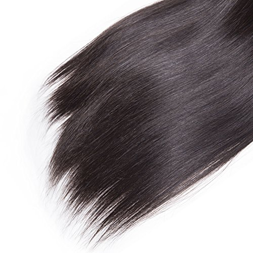 Brazilian Straight Hair 3 Bundles With Frontal Closure 13×4 Ear To Ear Lace Frontal With Bundles 100% Unprocessed Virgin Human Hair Extensions Weave Natural Color (22 24 26 +20 Frontal) by LONG YAO (Image #6)