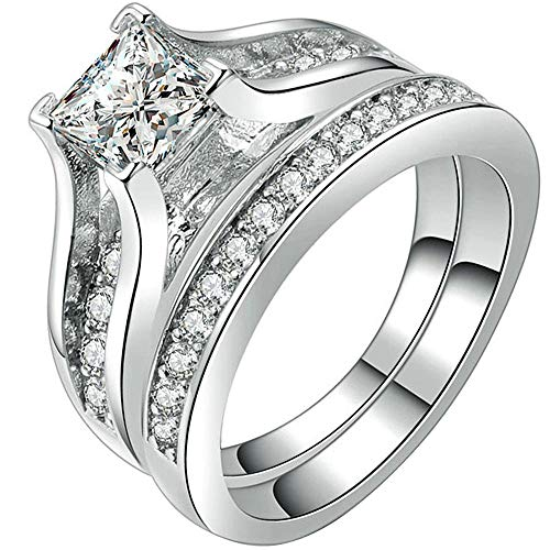 LWLH Jewelry Womens 18K White Gold Plated Cubic Zirconia CZ Promise Engagement Wedding Band Rings Set Size 7