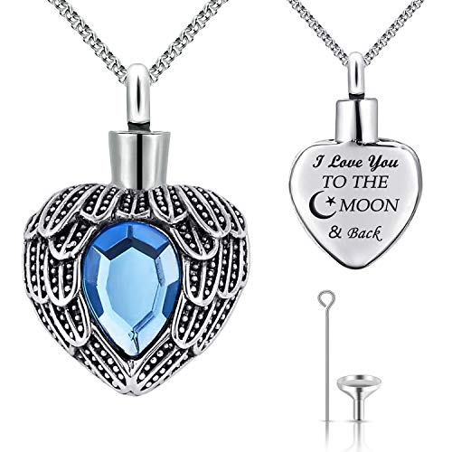 MUERDOU Urn Necklaces for Ashes Angel Wing Birthstone Charm Heart Cremation Jewelry Keepsake Holder Memorial Necklace Pendant (September)