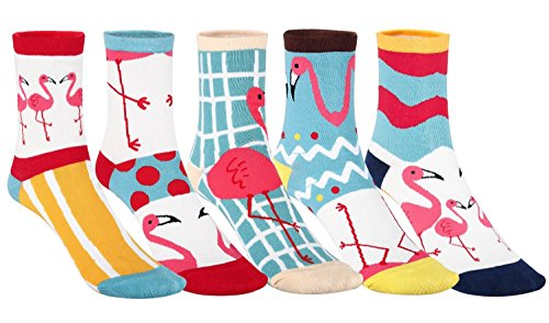 Women's novelty casual animal cartoon pattern fun cute cotton crew socks tselected (5 Pairs Flamingo) (Pattern Casual Cartoon)