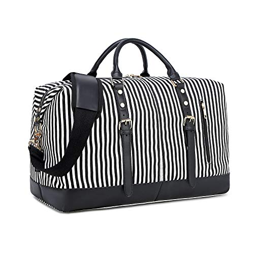 (CAMTOP Weekend Travel Bag Ladies Women Duffle Tote Bags PU Leather Trim Canvas Overnight Bag (Stripe-Black))