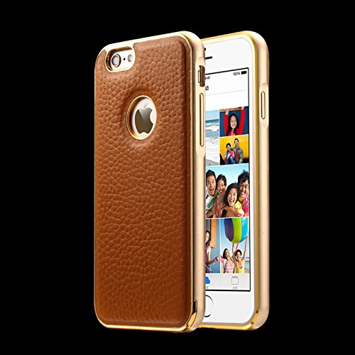 """iPhone 6 Plus Case, iPhone 6 5.5 Cases, G-i-Mall [Ultra Thin] Dual Layer Luxury Stylish Exquisite [Aluminum Alloy Metal Frame] With [Cowhide Genuine Leather] Premium Case Hybrid Bumper Rear Skin Cover Designed for Apple iphone 6 Plus Smartphone (fit 5.5"""" only) - Brown"""