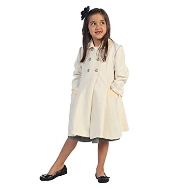 Amazon.com: Angels Garment Ivory Double Breasted Coat Toddler ...