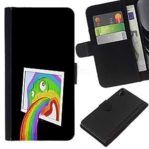 KLONGSHOP // Tirón de la caja Cartera de cuero con ranuras para tarjetas - Divertido abstracta del arte pop del arco iris - Sony Xperia Z2 D6502 //