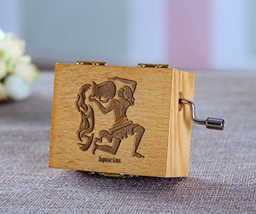 (Neilshop © zodiac Aquarius Wooden Music box hand crank metal spring tune castle in the sky Christmas/Birthday/Valentine's day holiday lovers gift)