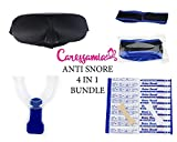CaressaMia Anti Snoring Devices Includes: Anti Snore Chin Strap + 10 Nasal Strips + Eye Mask for Sleeping + Snore Mouthpiece for Teeth Grinding