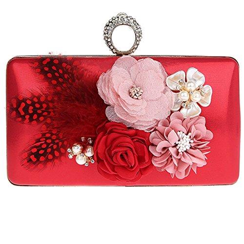 de Pochette élégantes Soiree Mariage Pochette Sac Rouge Soirée KAXIDY Fleurs de à Sac Main Mariage Sac TzxTPn
