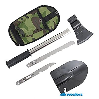 Wealers 9-in-1 Emergency Camping Compact Tools Kit, Shovel, Axe, Knife, Hammer, Saw, Can Opener, Bottle Opener, Nail Puller, Gut Hook, with Carry Case, from wealers