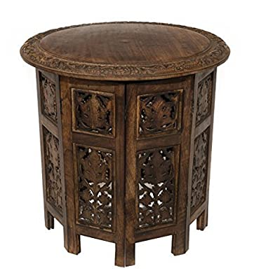 Cotton Craft Mango Wood Hand Carved Accent Pedestal Table - Antique Brown - Handcrafted Carved Wood