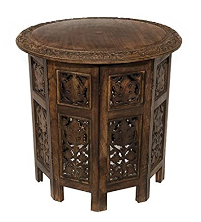 Charmant Cotton Craft Jaipur Solid Wood Hand Carved Accent Coffee Table   18 Inch  Round Top X
