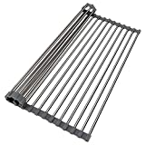 Donyanese Roll up Dish Drying Rack Over Sink Rack Kitchen Drainer Rack Multipurpose Foldable and Easy to Store (Warm Gray 17.7''x13.8'')