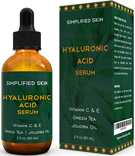 51RqaLz9PBL - Hyaluronic Acid Serum for Face & Eyes (2 oz) with Vitamin C, E & Green Tea for Anti-Aging, Moisturizing, Antioxidant & Wrinkle Treatment. Best Hydrating Pure Facial Serum by Simplified Skin