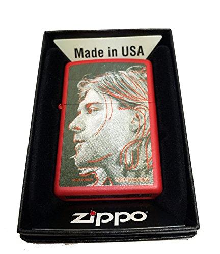 Zippo Custom Lighter - Kurt Cobain Grunge Illustration Portrait - Regular Red Matte ()