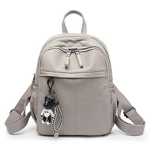 GSHGA Mochila de cuero mediana grande mochila para la ciudad para mujer Mochila de viaje informal diaria caliente negra vintage Grey