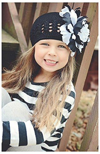 Black Crochet Hat with Black White Large Peony, Size: 12-18m (Peony Crochet Black)