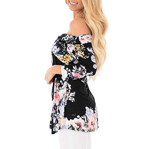 Longra❤ღ☀Mujeres Off Shoulder Floral Imprimir suelta Casual Blusa Full Top Negro