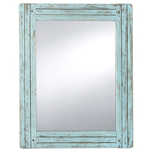 PRINZ Water's Edge Homestead Mirror Blue Distressed Wood 18.5x23.5 (White Mirror Distressed)