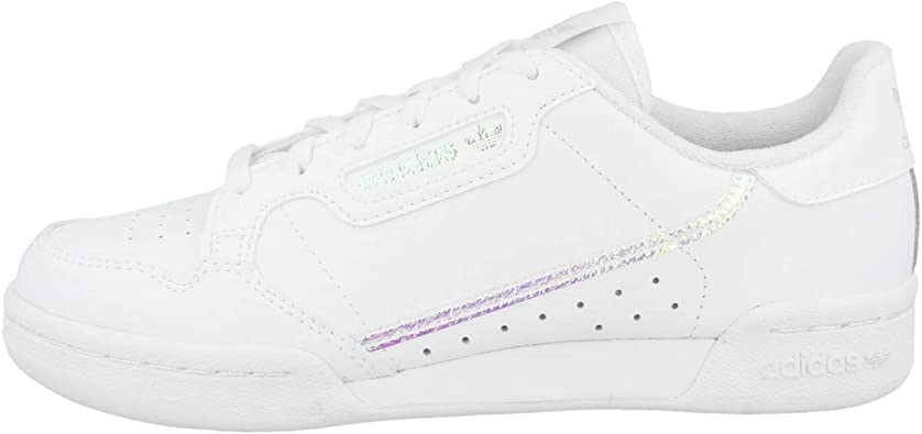 adidas Originals Continental 80 J Trainers Girls White/Iridescent - 5.5 - Low Top Trainers