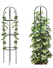 Mr.Ton Tower Obelisk Garden Trellis, Plant Support for Climbing Vines and Flowers Stands,Dark Green Lightweight Plant Tower, 6.3 feet