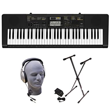 Casio Inc. CTK2400 PPK 61-Key Premium Portable Keyboard Package with Samson HP30 Headphones, Stand and Power Supply fast