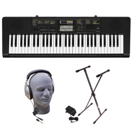 Casio Inc. CTK2400 PPK 61-Key Premium Portable Keyboard Package with Samson HP30 Headphones, Stand and Power Supply by Casio