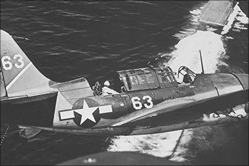16x24 Poster; Two U.S. Navy Curtiss Sb2C Helldiver Dive Bombers Of Bombing Squadron Vb-1 In The Landing Circle Of The Aircraft Carrier Uss Yorktown (Cv-10) In July 1944