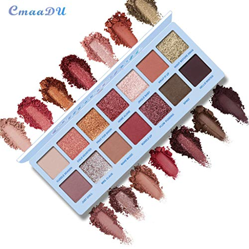 LiPing Matte Pearlescent Eye Shadow Palette 14 Color Waterproof Eye Shadow Plate Powder Eyeshadow Cosmetic Makeup (A)