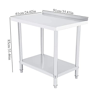Stainless Steel Work Table Commercial Kitchen Prep /& Work Table with Adjustable Double Layer and Large Storage Space For Platform Restaurant Business Warehouse Home Kitchen Garage 35.8 x 24 x 33.5in