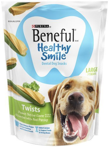 Purina Beneful Healthy Smile Dental Dog Snacks - For Large Dogs - Twists With Peanut Butter Flavor Accented With Real Parsley - 7 Treats Per Package - Pack of (Purina Dog Beneful Healthy)
