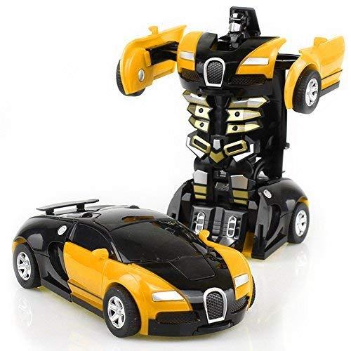 HaloVa Toy Car, Robot Deformation Car Model Toy Children, Kids Toddlers,Crash to Transform, Yellow