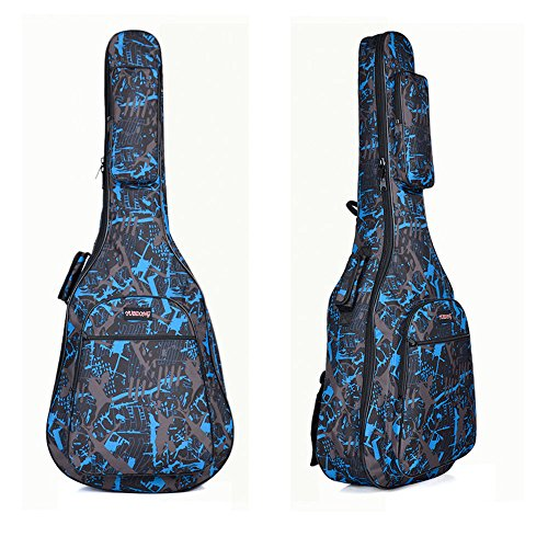 Quality Assurance Water-resistant Oxford Cloth Camouflage Blue Double Stitched Padded Straps Gig Bag Guitar Carrying Case for 40 41 Inches Acoustic Classic Folk Guitar (Acoustic 41inch Guitars)