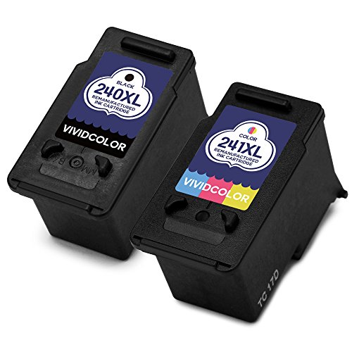 Vividcolor Remanufactured Canon PG 240XL 240 CL 241XL 241 Ink Cartridge for Canon PIXMA MG3620 MX472 MX452 MG3220 MG3520 MG2220 MX532 MX392 MX432 MX512 Printer (1 Black 1 Color)